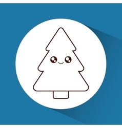 Kawaii pine tree of Christmas season design vector