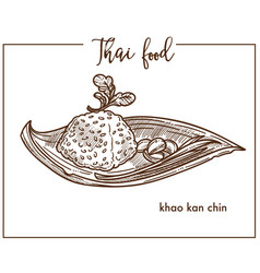Khao kan chin served on leaf from thai food vector