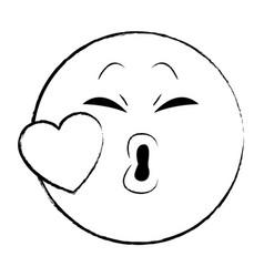 kiss chat emoticon sketch vector image