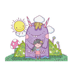 little fairy with monster in the field vector image