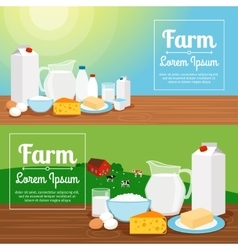 Milk farm dairy products banners vector image