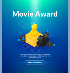 movie award poster of isometric color design vector image