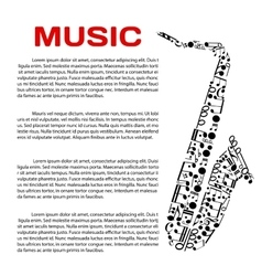 Musical poster with notes in a shape of saxophone vector image