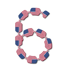 Number 6 made usa flags in form candies vector