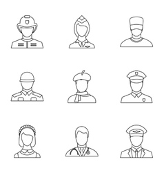 Occupation icons set outline style vector