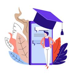 Online education smartphone in academic hat vector