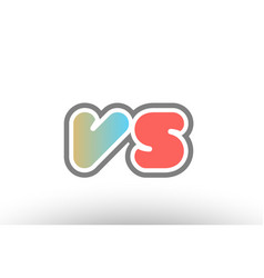 orange pastel blue alphabet letter vs v s logo vector image