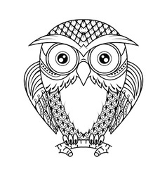 Owl sitting on branch vector