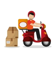 Package and motorcycle of delivery design vector