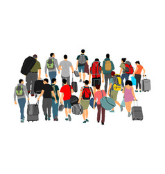 passengers with luggage walking at airport vector image
