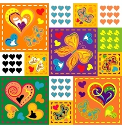 Patchwork colorful with hearts and butterfly vector