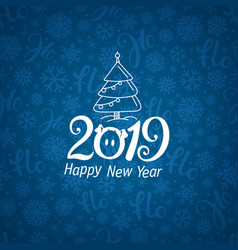 Pattern with 2019 logo happy new year vector