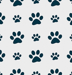 paw icon sign Seamless pattern with geometric vector image