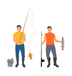 people catching fish together vector image