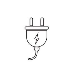 plug icon in line style power wire cable flat vector image