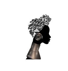 Portrait beautiful woman shenbolen ankara turban vector