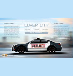 realistic police car infographic urban city vector image