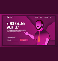 realize your business landing page concept vector image