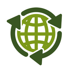 Recycling isolated icon planet saving vector