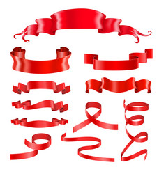 red ribbon banners silky shiny 3d design elements vector image