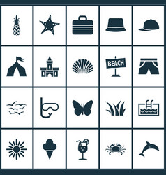 Season icons set with kingdom sunny sea star and vector