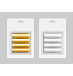 Set of four gray yellow alkaline aa batteries vector