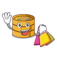 Shopping cartoon traditional bamboo for steamed vector