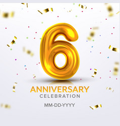 sixth anniversary birth celebration number vector image