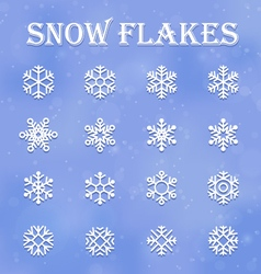Snow flakes set vector