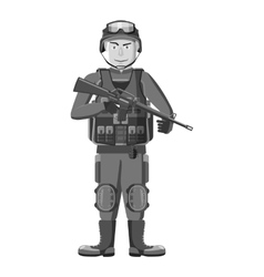 Soldier with weapons icon gray monochrome style vector image