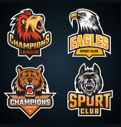 sport animal team logo or emblem with wild vector image