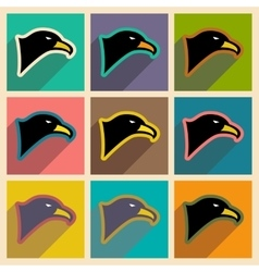 Stylish icons assembly eagle vector