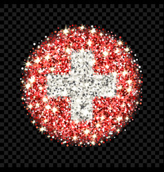 switzerland flag sparkling badge vector image