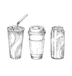 take away drink sketch style icon set for promo vector image