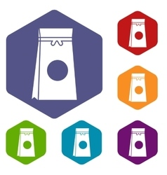 Tea packed in a paper bag icons set vector image