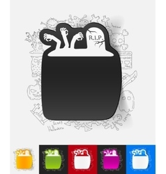 tombstone paper sticker with hand drawn elements vector image