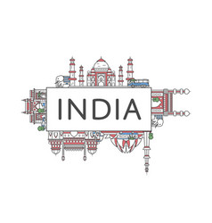 travel india poster in linear style vector image