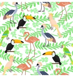 Tropical birds seamless pattern vector