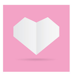 Valentine love white heart paper craft in frame vector