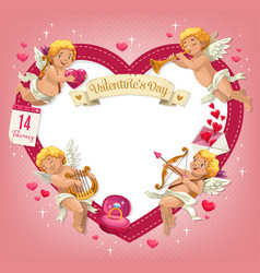 valentines day heart with cupids holiday of love vector image