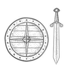 Viking shield and sword hand drawn sketch vector