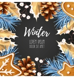 Winter card with gingerbread vector image