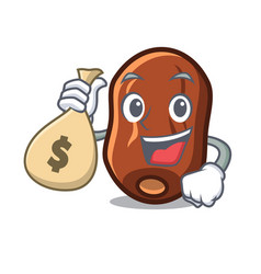 With money bag dates fruit character cartoon vector