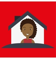 woman house insurance red vector image