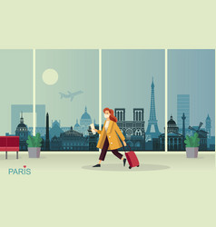 young lady in a maske with luggage at paris vector image