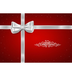 Christmas background Gift bow and Shiny ribbon vector image