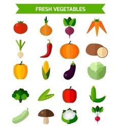 Fresh vegetables icons set vector image