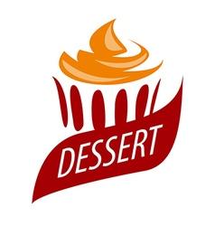 logo cake with orange cream vector image vector image