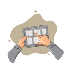 tablet pc in hands - vector image