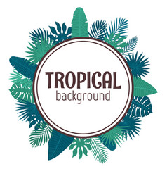 tropical leaves background summer design circle vector image